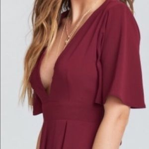 Tallara Romper in burgundy pebble
